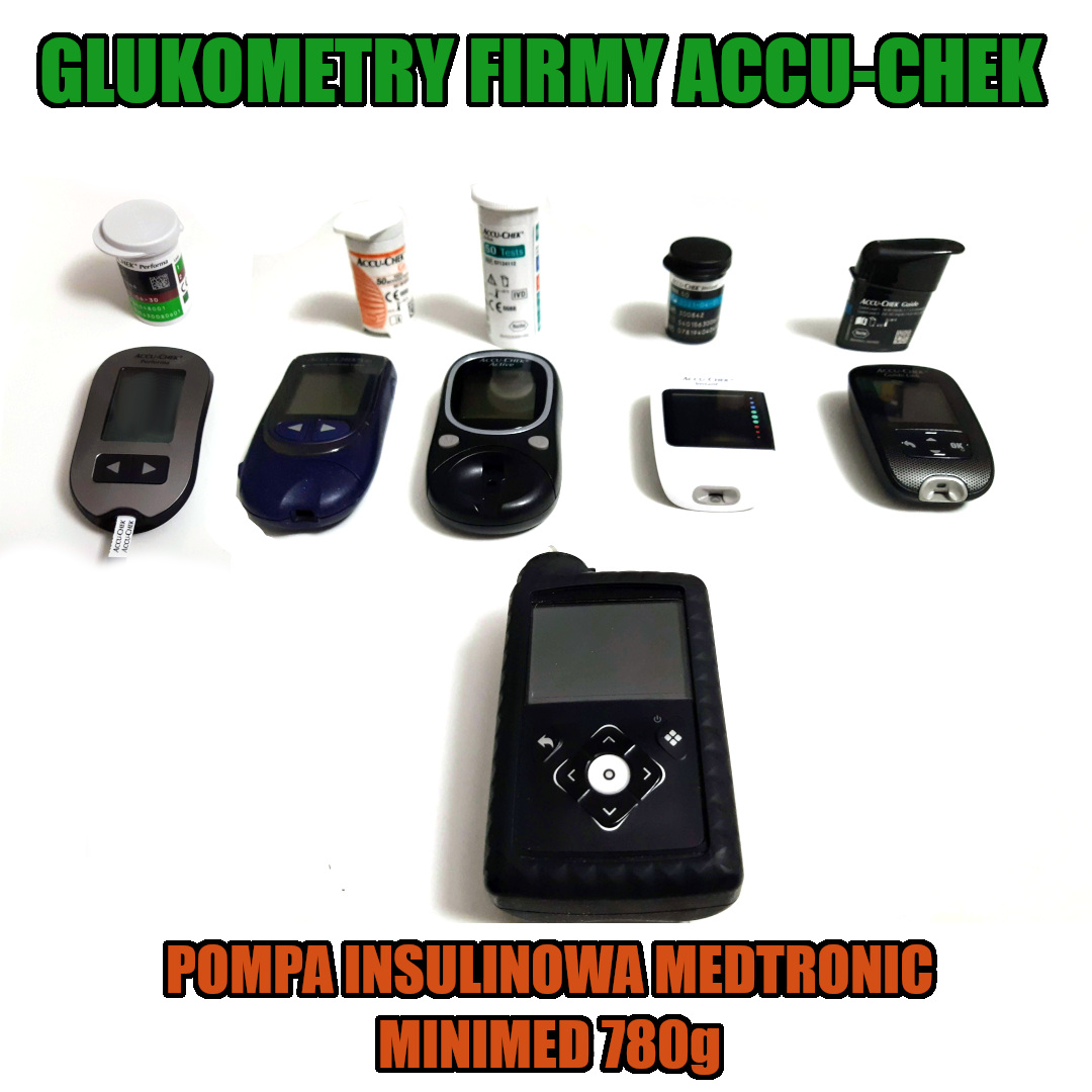 Wyniki z 5 glukometrów Accu-Chek i jednej pompy 780g