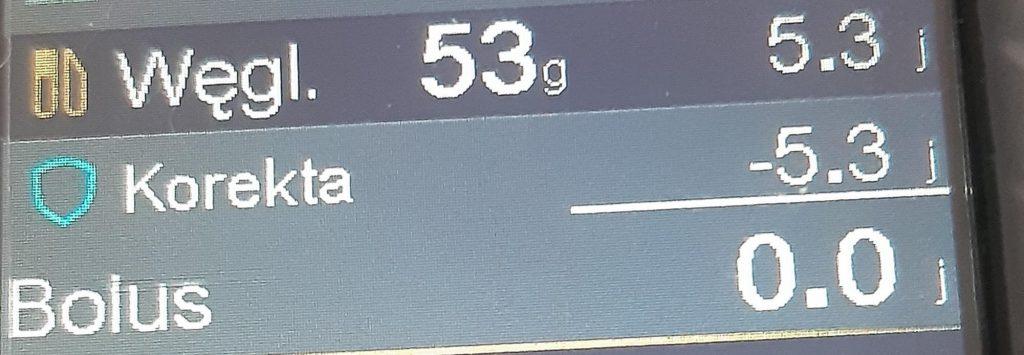 Duża korekta bolusa - pompa 780g